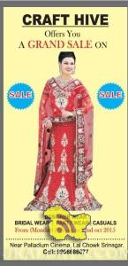 CRAFT HIVE Offers GRAND SALE on Designer wears Bridal Wears Party Wears