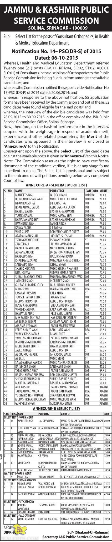 JKPSC Select List of Consultant Orthopedics, in Health & Medical Education Department