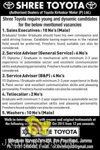 Sales Executives, Service Advisor, Tellecaller, Washer Jobs in SHREE TOYOTA