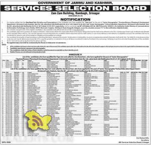 Selection list of Junior Stenographer (Tourism/Finance /Planning & Development Department) Kashmir