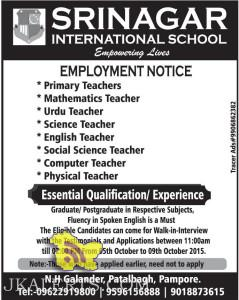Employment news Srinagar International School Srinagar, Teaching Jobs
