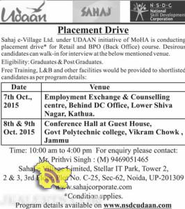Udaan Placement Drive in Kathua and Govt Polytechnic college, Jammu