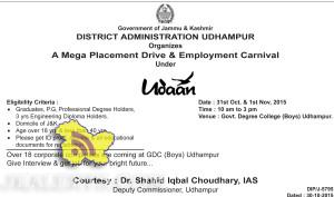 Mega Placement Drive & Employment Carnival Govt. Degree College (Boys) Udhampur