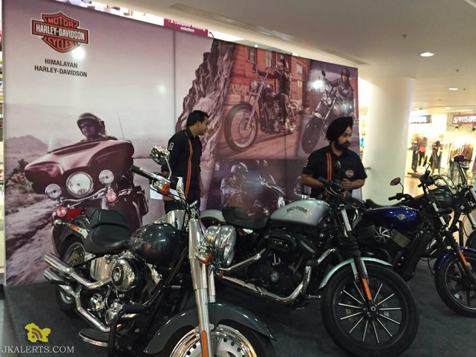 Display of Super bikes from Harley Davidson at Wave Mall Jammu