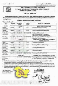 Datesheet for D.El.Ed 2nd Year Exam Bi- Annual Session 2011-13 (Private)