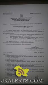 Winter vacations in Kashmir Divisionwinter Zones of Jammu Division.