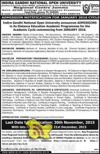 IGNOU ADMISSION OPEN FOR JANUARY 2016