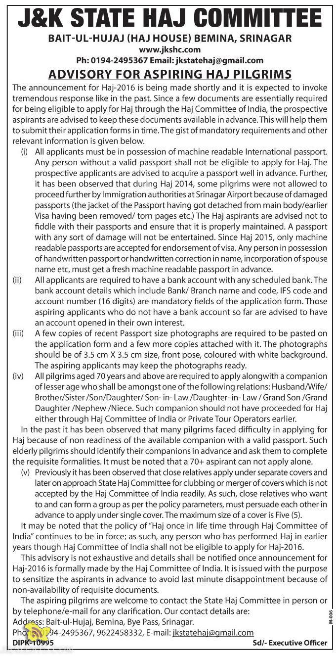 J&K STATE HAJ COMMITTEE , ADVISORY FOR ASPIRING HAJ PILGRIMS