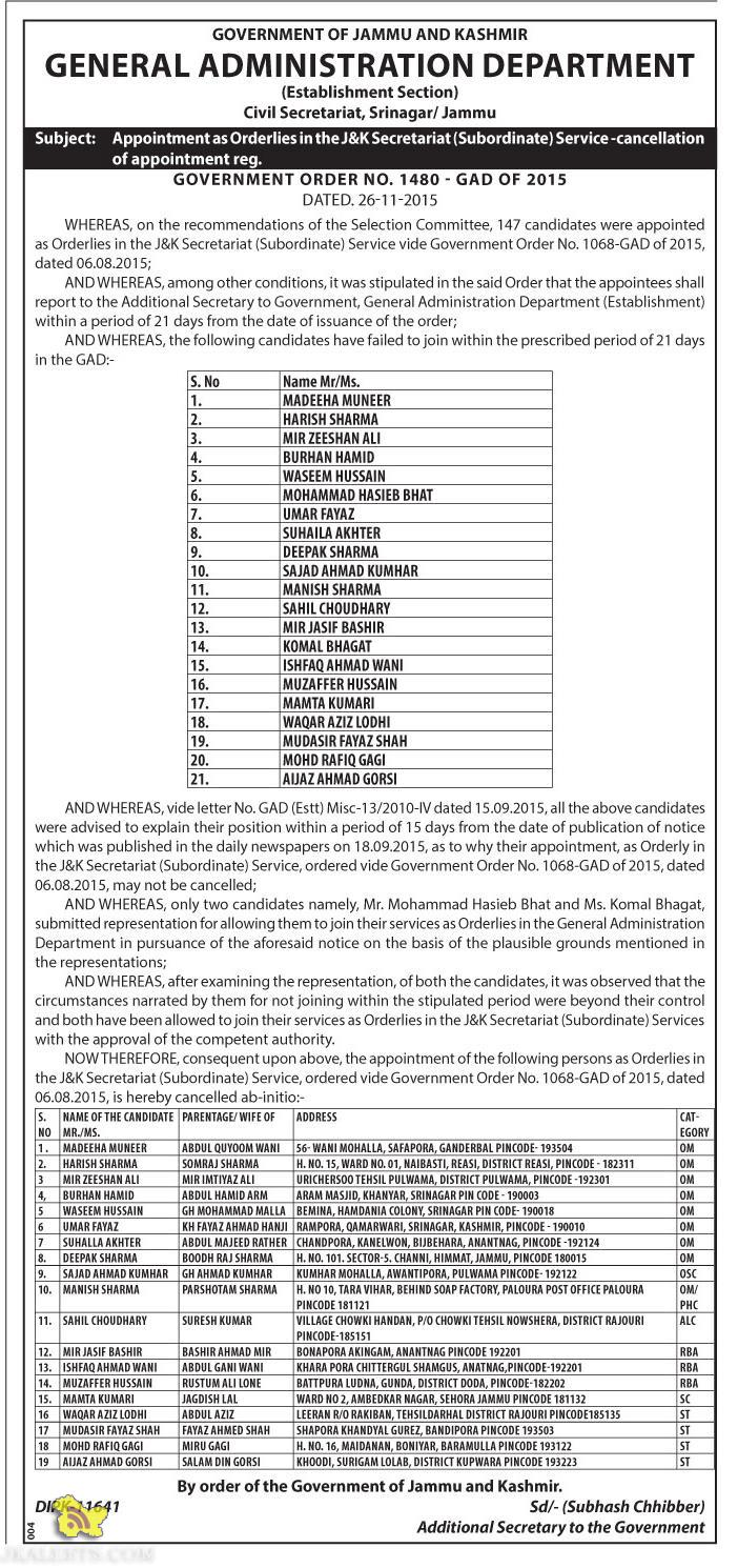 Appointment as Orderlies in the J&K Secretariat Service -cancellation of appointment reg