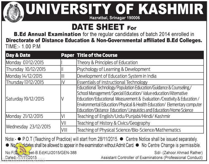 Kashmir university DATE SHEET For B.Ed Annual Examination
