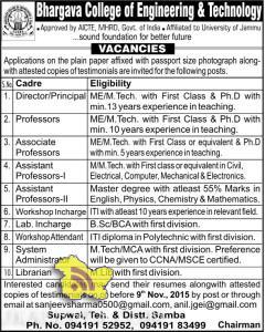 Teaching Non Teaching Jobs in Bhargava College of Engineering & Technology Samba