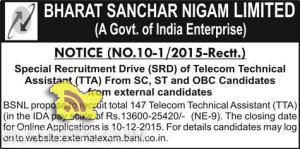 BSNL Special Recruitment Drive (SRD) of Telecom Technical Assistant (TTA)