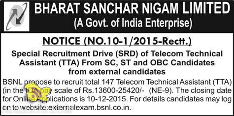 BSNL Special Recruitment Drive (SRD) of Telecom Technical Assistant (TTA)