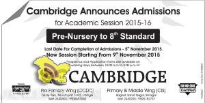 Cambridge Announces Admissions from Pre-Nursery to 8th Standard in srinagar