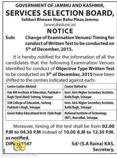 JKSSB Change of Examination Venues / Timing for conduct of Written Test