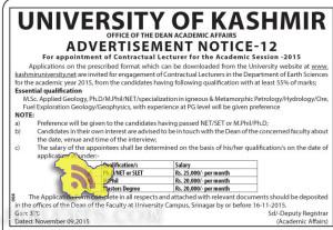 UNIVERSITY OF KASHMIR LECTURER JOBS FOR ACADEMIC SESSION 2015