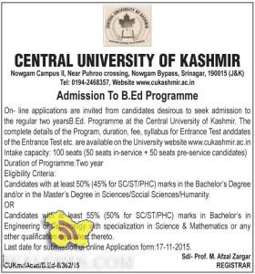 B.Ed Admission in Central University of Kashmir