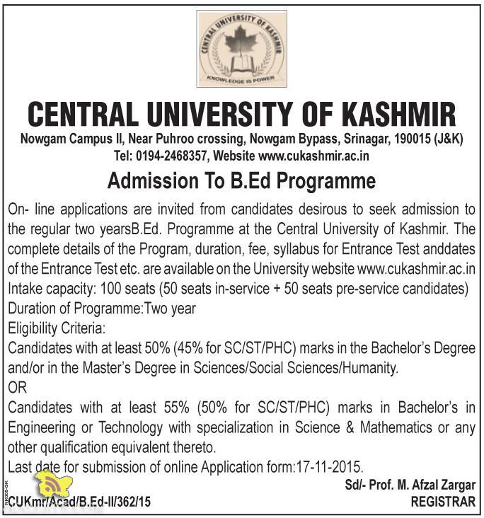 B.Ed Admission in Central University of Kashmir