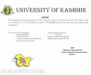 Revised Dates for Postponed Papers of UG 2nd Year