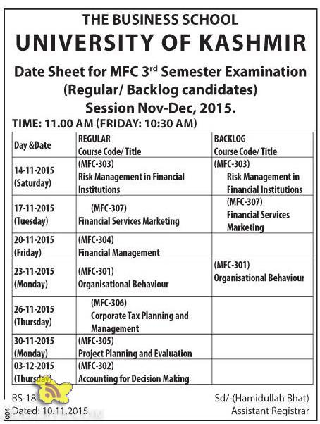 KASHMIR UNIVERSITY Date Sheet for MFC 3rd Semester Examination Nov-Dec, 2015