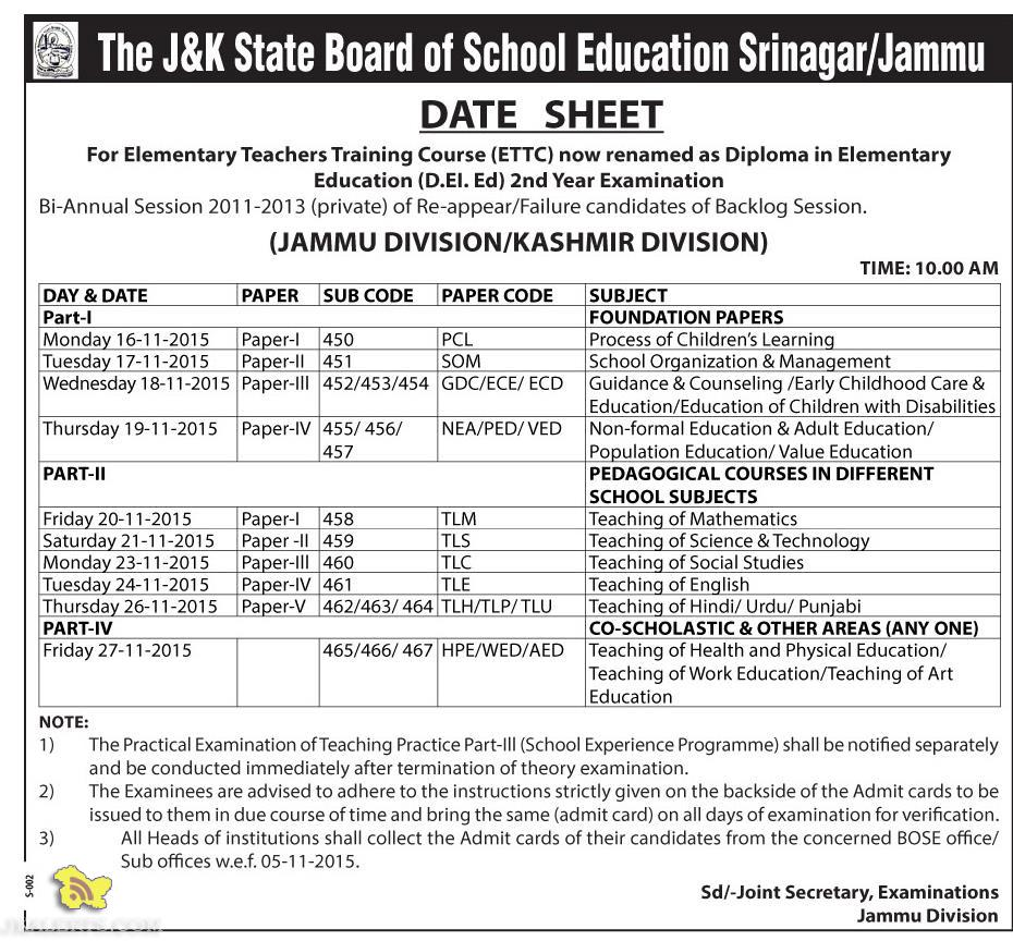 DATE SHEET For Elementary Teachers Training Course (D.EI. Ed) 2nd Year Examination