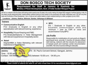 DON BOSCO TECH SOCIETY Requirement for Staff in Jammu & Kashmir