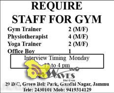 REQUIRE STAFF FOR GYM