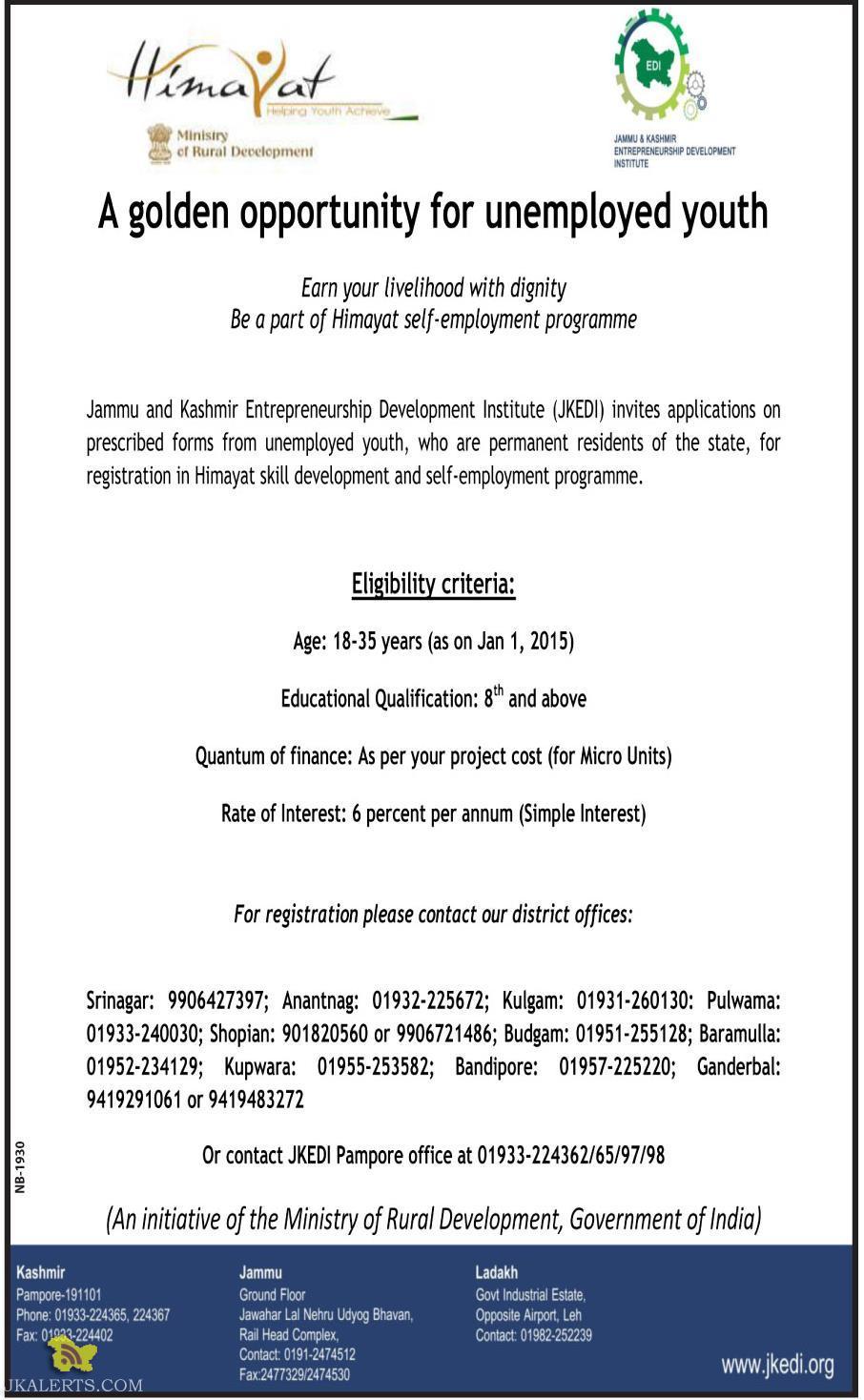 JKEDI Himayat self-employment programme registration