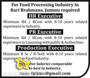 HR Executive, PR Executive, Production Executive Jobs in Industries Bari Brahmana