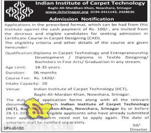 Admission open in Carpet Designing ,Indian Institute of Carpet Technology