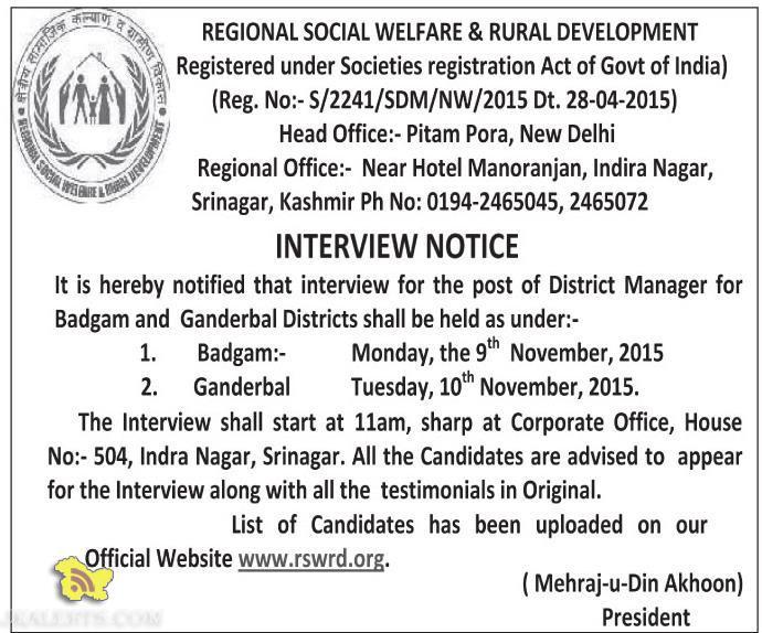 INTERVIEW NOTICE REGIONAL SOCIAL WELFARE & RURAL DEVELOPMENT