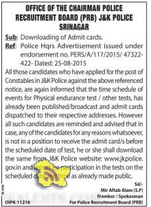 POLICE RECRUITMENT BOARD (PRB) J&K POLICE NOTIFICATION, Downloading of Admit cards.