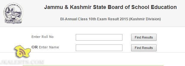 JKBOSE Result of Class 10th Bi-Annual 2015 (KASHMIR DIVISION)