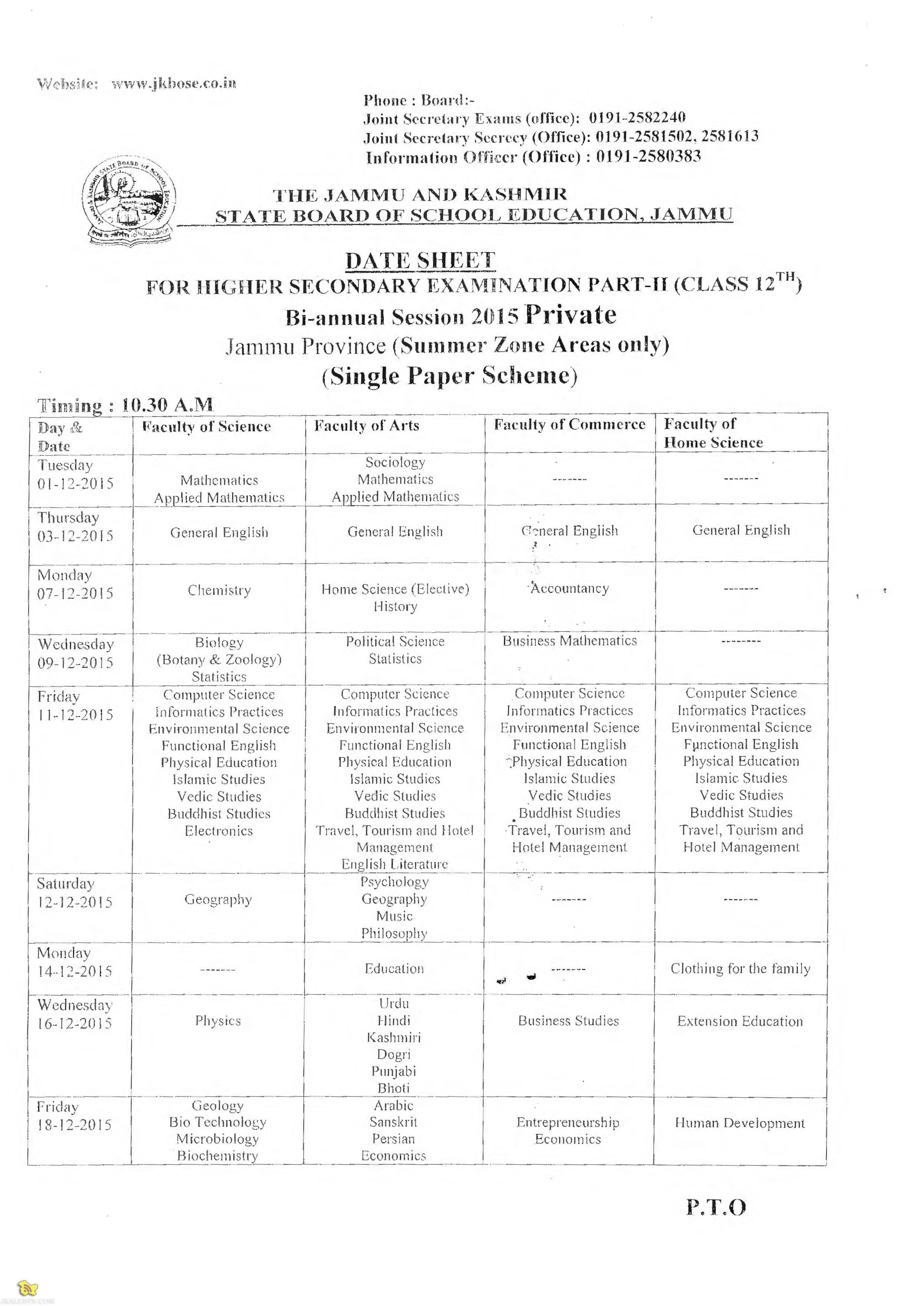 JKBOSE Class 12th Bi annual Datesheet Session 2015 Private Jammu Province
