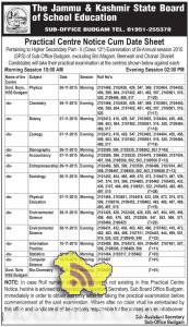JKBOSE Practical Centre Notice Cum Date Sheet Class 12th budgam
