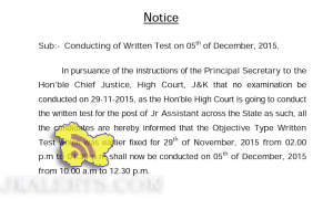 JKSSB Conducting of Written Test on 05th of December, 2015.