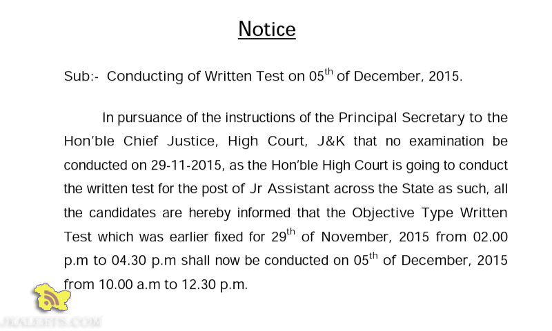 JKSSB Conducting of Written Test on 05th of December, 2015.