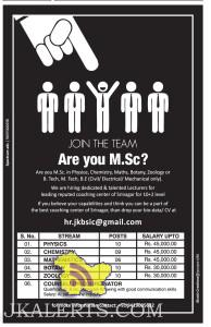 Lecturers Jobs for leading reputed coaching center of Srinagar