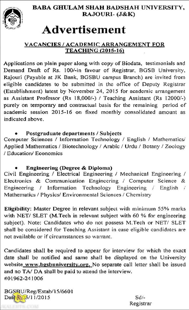 ACADEMIC ARRANGEMENT FOR TEACHING (2015-16) IN BGSBU RAJOURI