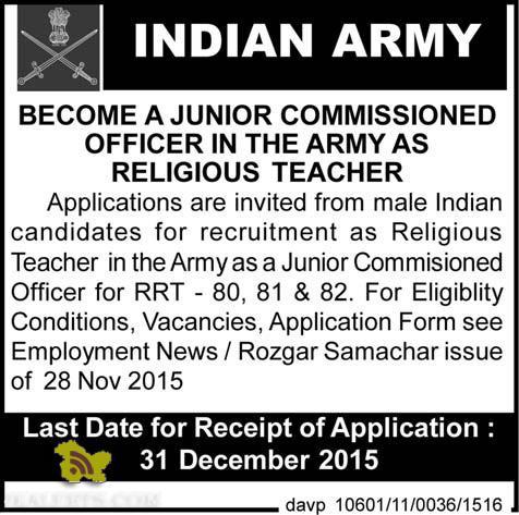 JCO JOBS IN THE INDIAN ARMY AS RELIGIOUS TEACHER