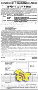 Jobs in Directorate of Technical Education, Kashmir Academic arrangements in the ITI's for the Academic session 2015-16.