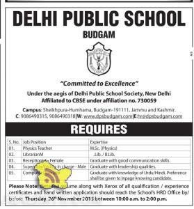 JOBS IN DELHI PUBLIC SCHOOL BUDGAM