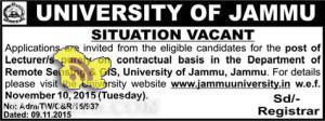 Lecturer jobs in university of jammu