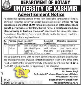 Project Fellow Jobs in DEPARTMENT OF BOTANY UNIVERSITY OF KASHMIR