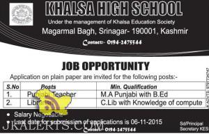 JOBS IN KHALSA HIGH SCHOOL MAGARMAL BAGH SRINAGAR