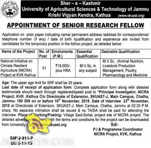 Jobs in Sher-e-Kashmir University of Agricultural Sciences & Technology of Jammu