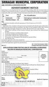 SRINAGAR MUNICIPAL CORPORATION JOBS SAFAIWALLA/MASHKIE/HELPER