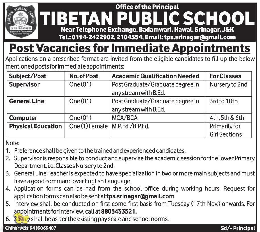 Supervisor, Teachers JOBS IN TIBETAN PUBLIC SCHOOL
