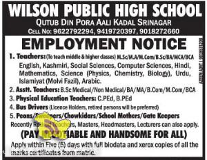 TEACHERS JOBS IN WILSON PUBLIC HIGH SCHOOL