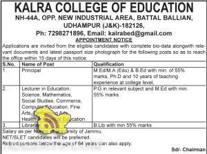 JOBS IN KALRA COLLEGE OF EDUCATION, UDHAMPUR (J&K)